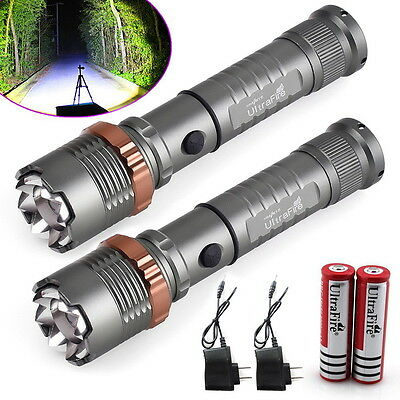 2 x Police Tactical 10000LM CREE XM-L T6 LED Flashlight Torch + Battery+ Charger 8