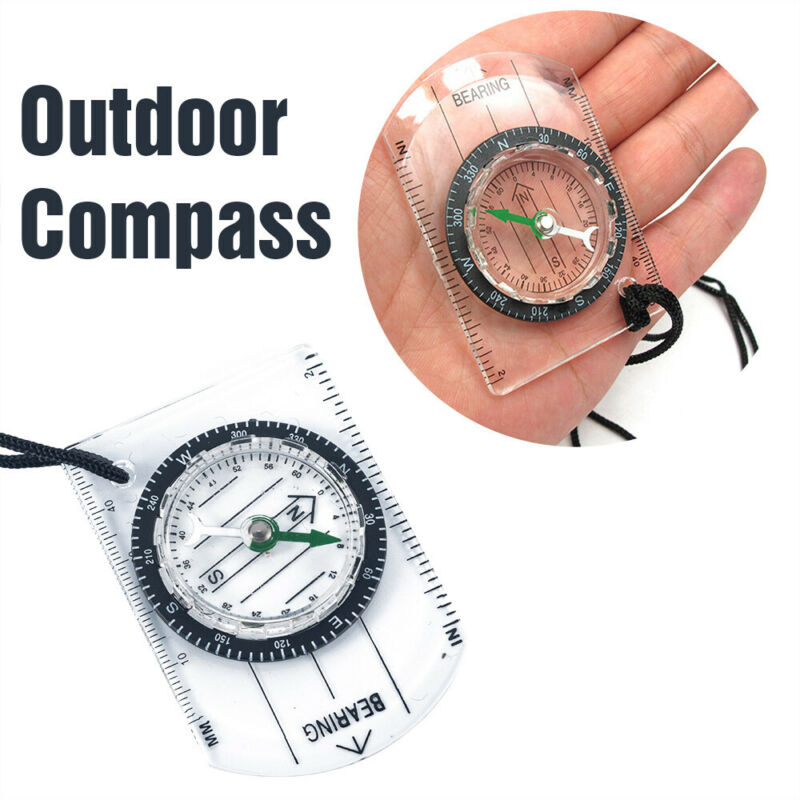 Portable Compass INCH Travel Scale Ruler Baseplate Military Outdoor Compass Map 2