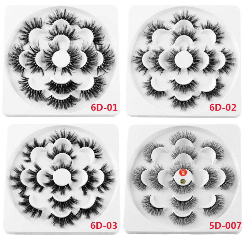 SKONHED 7 Pairs 25mm 6D Mink Hair False Eyelashes Thick Wispy Fluffy Lashes NEW 5
