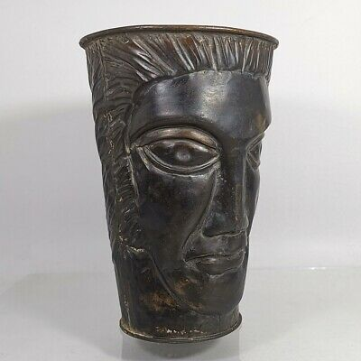 Antique Greek Roman Head Carved Bronze Mug Goblet Cup Jug Pitcher Unique #469 8