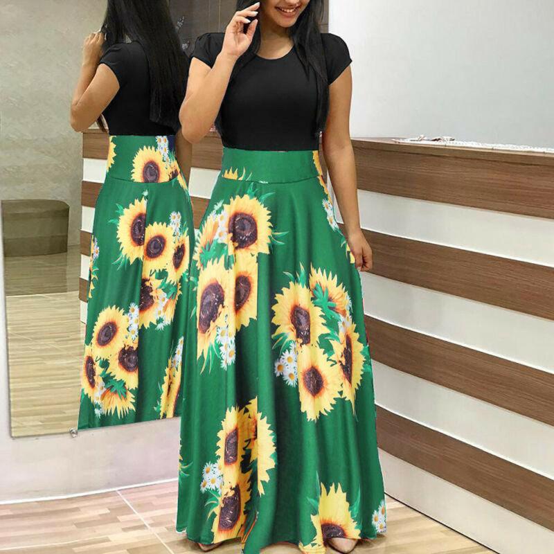 Women Summer Boho Long Maxi Dress Evening Cocktail Party Beach Dresses Sundress 7