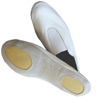 GYMNASTIC SHOES WHITE LEATHER TRAMPOLINING pumps TRAINING DANCE CUSHIONED Clothes, Shoes & Accessories AA