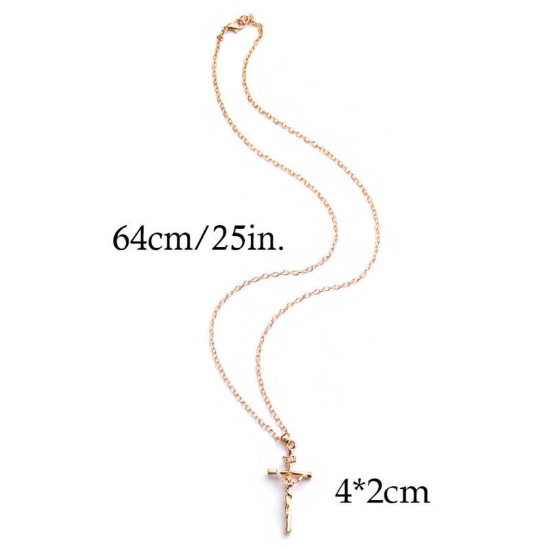 18K Gold Plated Women Men INRI Crucifix Jesus  Cross Pendant Necklace Chain 3