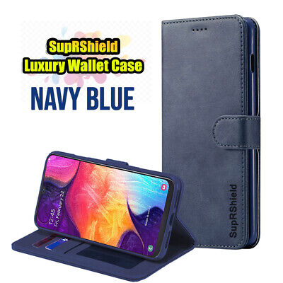 Samsung Galaxy A70 A50 A30 A20  A10e A90 Genuine Leather Wallet Flip Case Cover 6