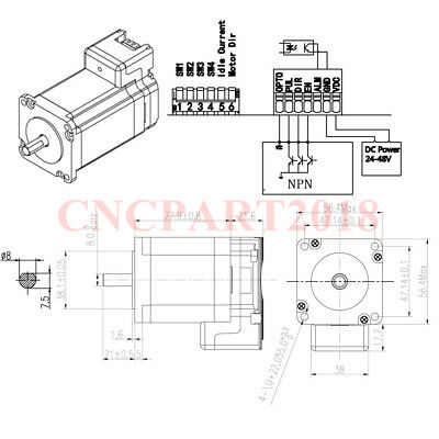 Integrated 2 in 1 Nema23 Stepper Motor L76mm 3A 1.8Nm Shaft 8mm for CNC Router 4