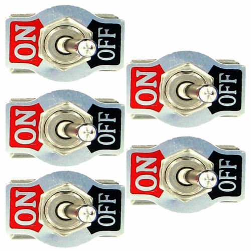 5 X SPST 2Pin Heavy Duty 10A 15A125V ON/OFF Rocker Toggle Switch Waterproof Boot