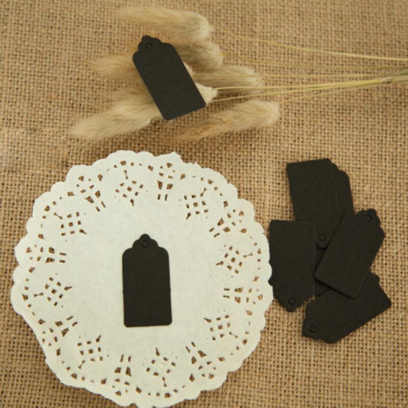 100 Pcs Kraft Paper Gift Tags Wedding Scallop Label Blank Luggage Tag 4*2cm UK 8