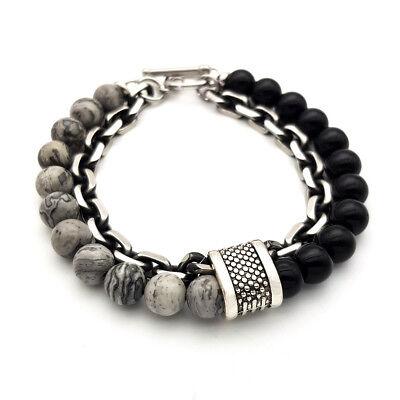 Bracciale catena acciaio uomo con pietra dure in onice nero da braccialetto 5