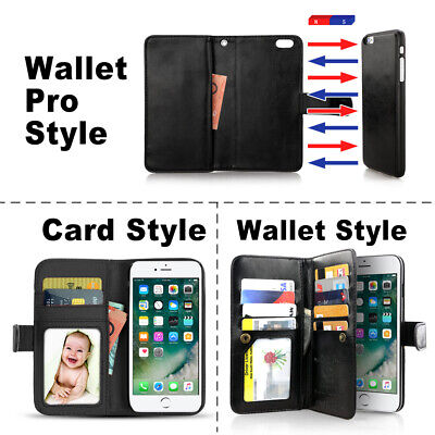 For iPhone 11 Pro XS MAX XR 8 7 Plus 6s Wallet Magnetic Flip Leather Case Cover 9