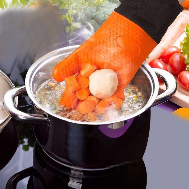 Silikon Ofenhandschuhe Grillhandschuhe Backhandschuhe Hitzebeständig  Küche BBQ 2