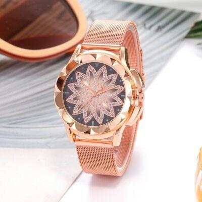 ASAMO modische Damen Armbanduhr mit Strass Steinen und Metall Armband AMA205 5