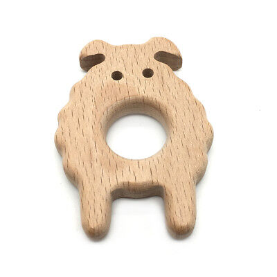 Natural Beech Wood Teething Ring Baby Nursiing Chewable Teether Jewelry Making 10
