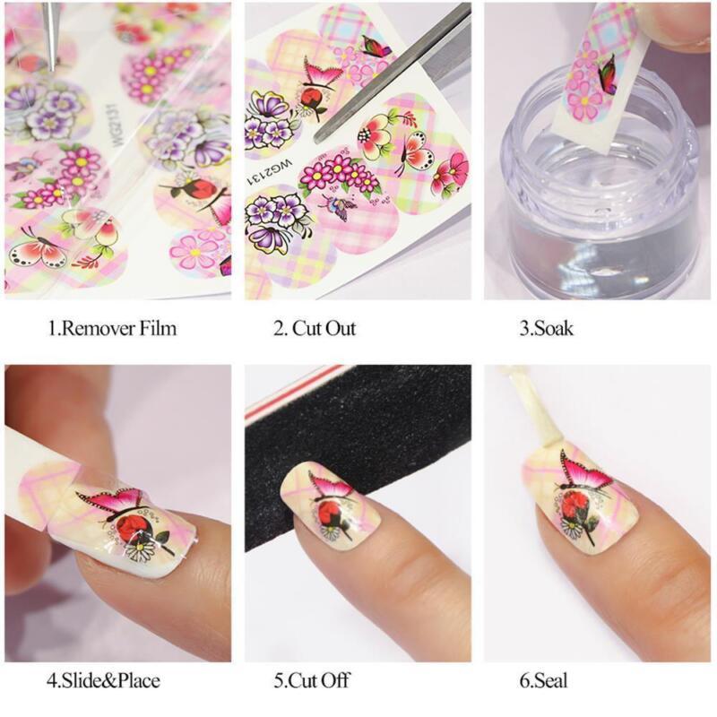 6 Sheet Water Transfer 3D Flower Design Manicure Nail Art Stickers Decals DIY 6
