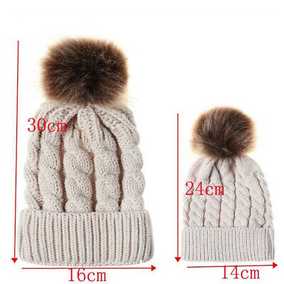 Women Mom Mother Baby Girls Boys Knit Winter Warm Wool Pom Bobble Hat Beanie Cap 2
