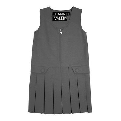 Girls School Uniform Pinafore  Box Pleated Elasticated waist school kids Skirt 7
