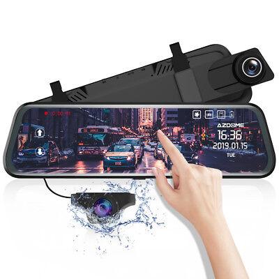 "AZDOME 10"" HD 1080P Dual Lens Car Dash Cam Recorder Mirror Touching Night Vision 9"