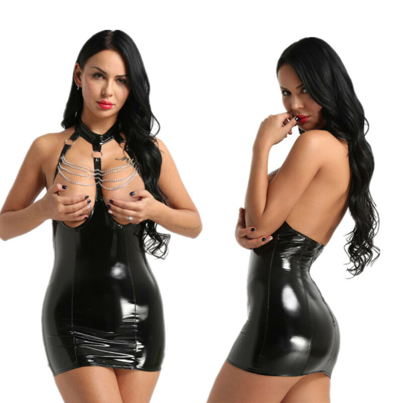 Damen Glänzend Kleid busenfreier Bodysuit Bodycon Nachtkleid mit Ketten Quasten 2