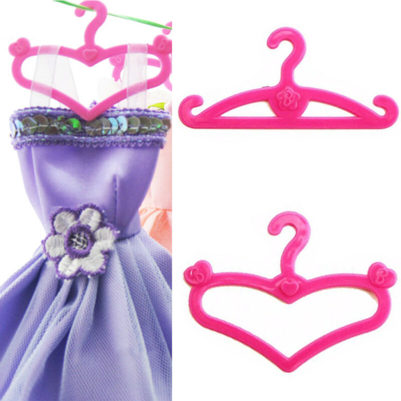 Pink Hangers Dress Clothes Accessories For Barbie Doll Pretend Play Girls' Gift