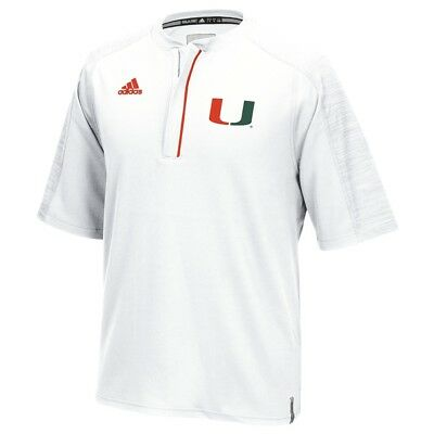 adidas Miami Hurricanes White Basketball Hoodie Quarter Zip