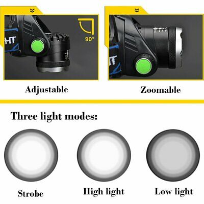 350000Lumen LED T6 Zoomable Headlamp USB Rechargeable Headlight 18650 Head Light 11
