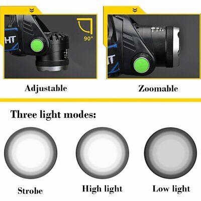 900000Lumen T6 LED Zoomable Headlamp USB Rechargeable 18650 Headlight Head Light 11