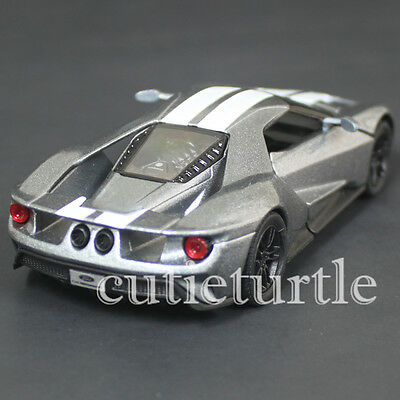 Kinsmart  Ford Gt Cast Toy Car Grey With White Stripes