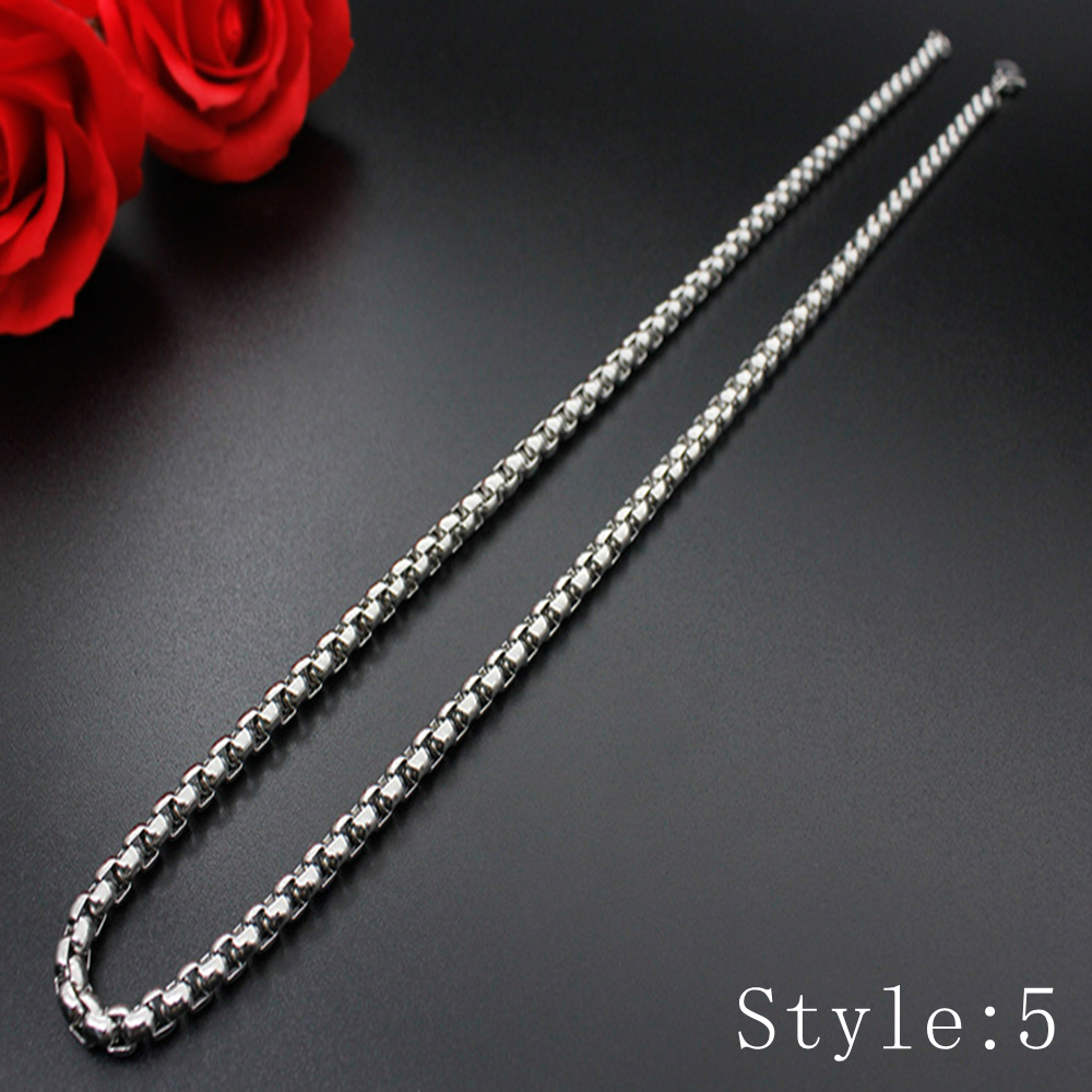 Gift Man Women Fashion 316L Stainless Steel 2mm-5mm Silver Chain Necklace 6