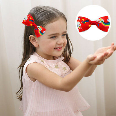 1/5/10Pcs Cartoon Unicorn Bow Hair Clips Hair Pin Kid Baby Girl Hair Accessory 3