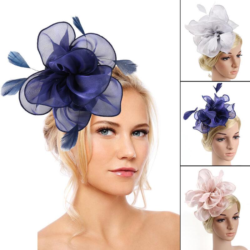 Pettine fiori piume Fascinator Wedding Races Proms Accessorio per capelli sposa. 2