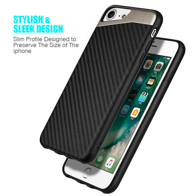for iPhone 7/8 & 7+/8+ PLUS - Magnetic BLACK Carbon Fiber TPU Rubber Case cover 4