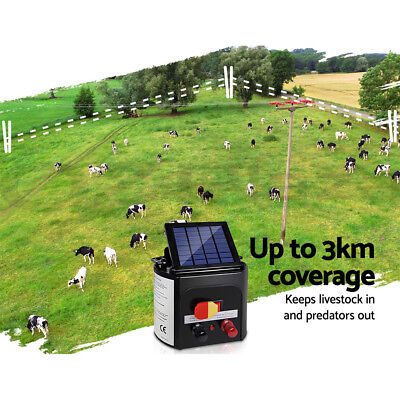Giantz 3km Solar Electric Fence Energiser Energizer Charger 0.1J Farm Pet Animal 3