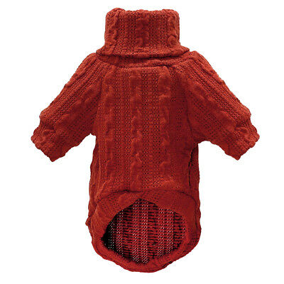 Knitted Dog Sweater Chihuahua Clothes Winter Knitwear Pet Puppy Jumper Red Black 5