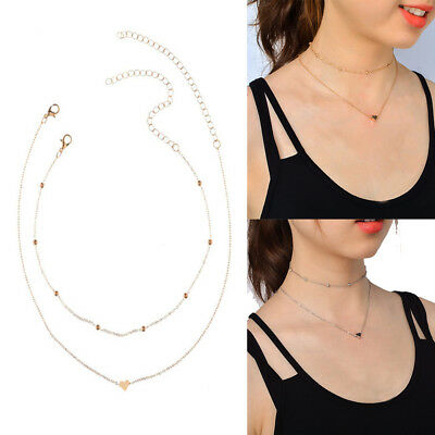 Women Fashion Jewelry Accessories Mix Color Double Layers Chain Heart Necklace