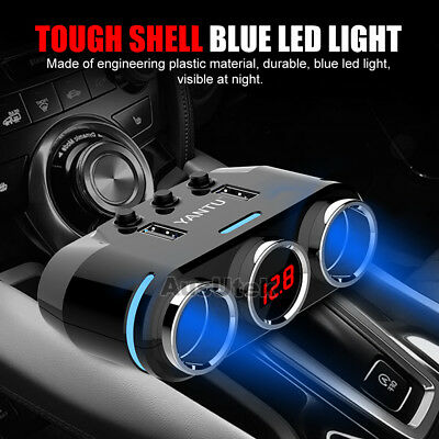Dual USB LCD Car Charger Cigarette Lighter Double Power Adapter Socket Splitter 2