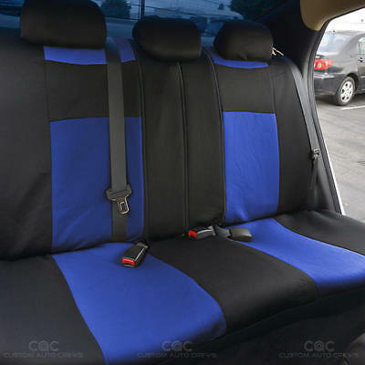Amazing Blue Black Car Seat Covers W Split Bench Pu Perforated Pdpeps Interior Chair Design Pdpepsorg