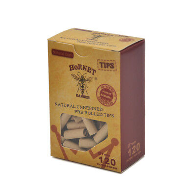 120xHornet Pre-Rolled Natural Unrefined Cigarette Filter Rolling Paper Tips 7MM