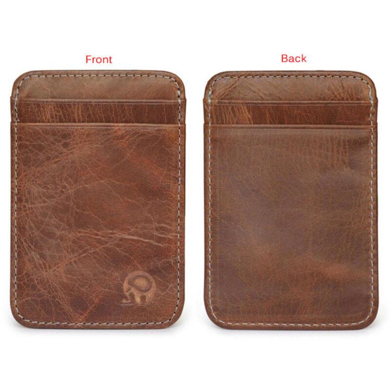 Mens Slim Minimalist Front Pocket Wallet Genuine Leather Credit Card ID Holder 2