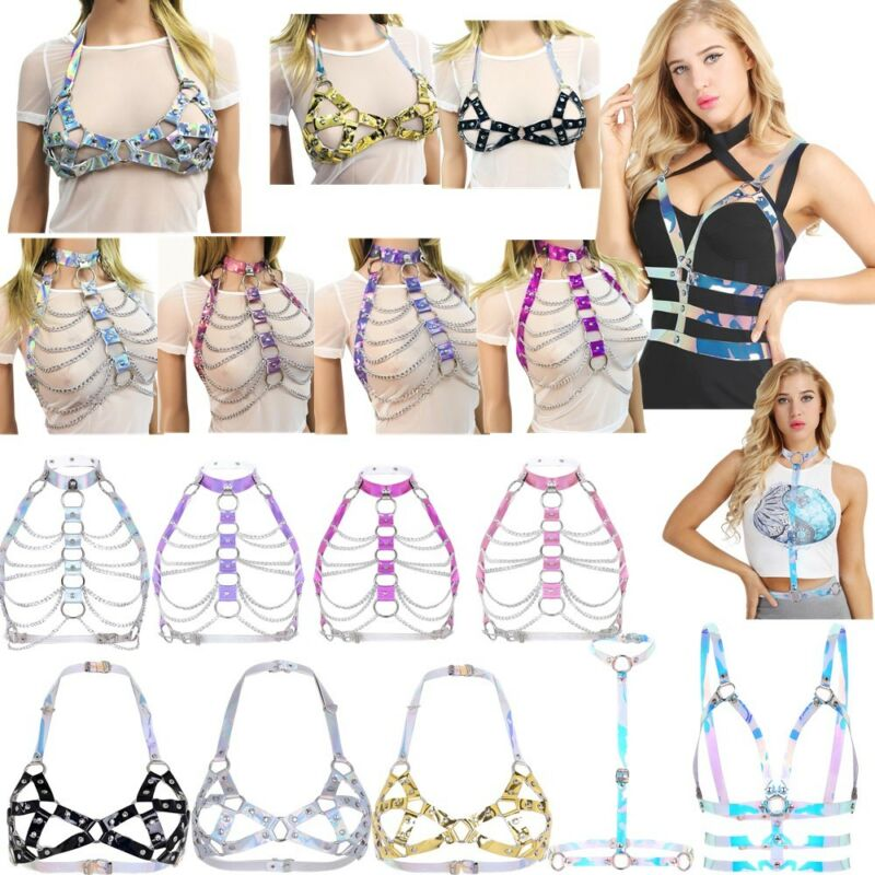 Sexy Women PVC Halter Body Chain Harness Metal Chest Belt Corset Bustier Costume 2