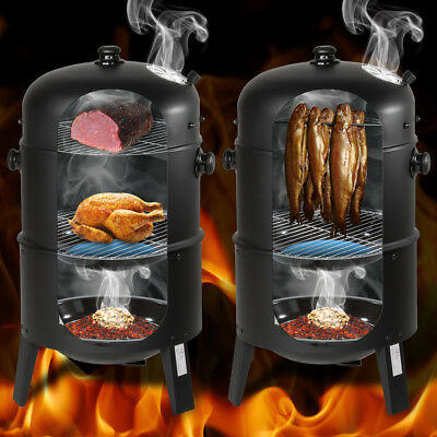 3in1 BBQ GRILL BARBECUE GRILLE WAGON CHARBON DE BOIS FUMOIR SMOKER 2