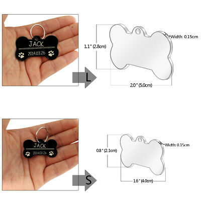 Stainless Steel Personalized Dog Tags Bone Round Military ID Name Tags Sliver 7