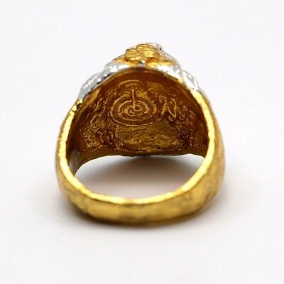 LP Pern Yant Talisman Tiger Ring Size 22 Luck protection Blessed Thai Amulet