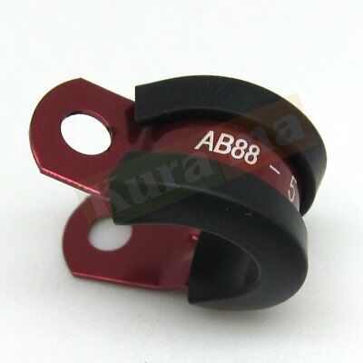 """Hose Line 2x Rubber Insulated Cushioned Alloy P-Clamp ID 15.8mm 5//8/"""" For Fuel"""
