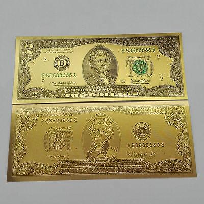 1pcs USD 2 dollar 24K Gold Foil Golden Paper Money Banknotes Crafts UNC KK
