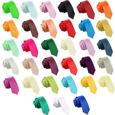 Mens Tie Solid Plain Standard Regular Slim Skinny Clip On XL Boys Size by DQT 3