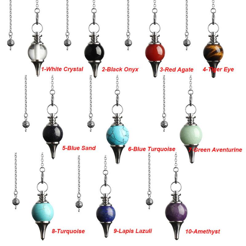 Balance Reiki Natural Stone Crystal Pendulum Circular Cone Charm Pendant~ 7
