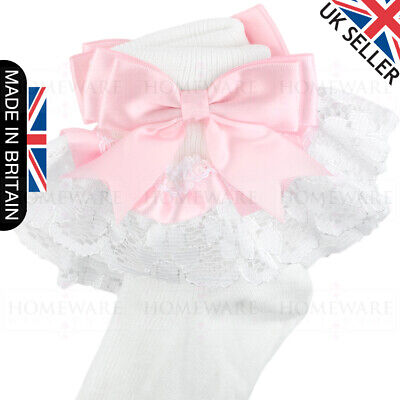 Girls Baby Spanish Bow Socks Double Ribbon Bow Frilly Lace Ankle Socks New Kids 2