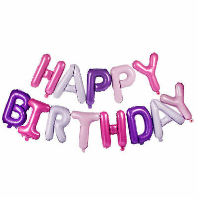 Happy Birthday Balloon Banner Bunting Self Inflating Letters Foil Balloons Party 5