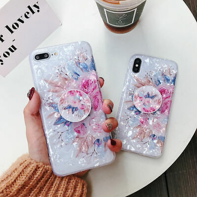For iPhone XS Max XR 6s 7 8 Plus X Shell Flower Holder Stand Soft TPU Case Cover 6