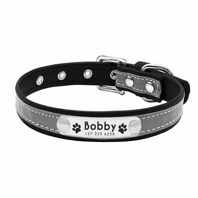 Personalised Soft Reflective Leather Dog Collar Custom Name ID Tags Pet Cat 4