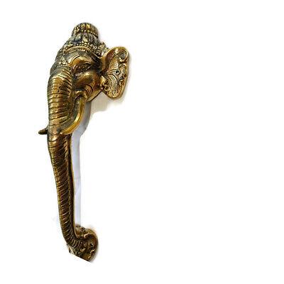 """Ganesha Elephant DOOR PULL HANDLE 11 """" long solid BRASS trunk door age 28 cm B 11"""